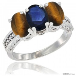 14K White Gold Natural Blue Sapphire & Tiger Eye Sides Ring 3-Stone 7x5 mm Oval Diamond Accent