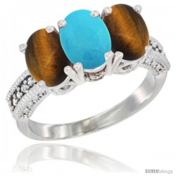 14K White Gold Natural Turquoise & Tiger Eye Sides Ring 3-Stone 7x5 mm Oval Diamond Accent