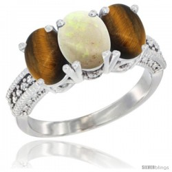 14K White Gold Natural Opal & Tiger Eye Sides Ring 3-Stone 7x5 mm Oval Diamond Accent