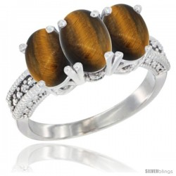 14K White Gold Natural Tiger Eye Ring 3-Stone 7x5 mm Oval Diamond Accent