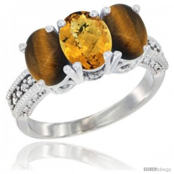 14K White Gold Natural Whisky Quartz & Tiger Eye Sides Ring 3-Stone 7x5 mm Oval Diamond Accent