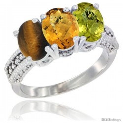14K White Gold Natural Tiger Eye, Whisky Quartz & Lemon Quartz Ring 3-Stone 7x5 mm Oval Diamond Accent