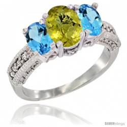 10K White Gold Ladies Oval Natural Lemon Quartz 3-Stone Ring with Swiss Blue Topaz Sides Diamond Accent