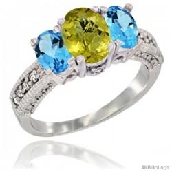10K White Gold Ladies Oval Natural Lemon Quartz 3-Stone Ring with Swiss Blue Topaz Sides Diamond Accent