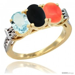 10K Yellow Gold Natural Aquamarine, Black Onyx & Coral Ring 3-Stone Oval 7x5 mm Diamond Accent