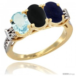 10K Yellow Gold Natural Aquamarine, Black Onyx & Lapis Ring 3-Stone Oval 7x5 mm Diamond Accent