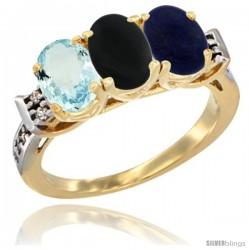 10K Yellow Gold Natural Aquamarine, Black Onyx & Lapis Ring 3-Stone Oval 7x5 mm Diamond Accent