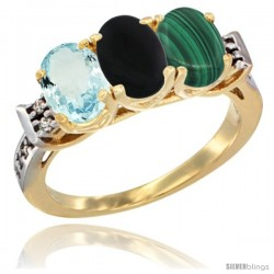 10K Yellow Gold Natural Aquamarine, Black Onyx & Malachite Ring 3-Stone Oval 7x5 mm Diamond Accent