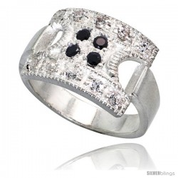 Sterling Silver Square Ring, High Quality Black & White CZ Stones, 1/2 in (11 mm) wide