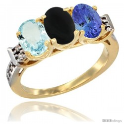 10K Yellow Gold Natural Aquamarine, Black Onyx & Tanzanite Ring 3-Stone Oval 7x5 mm Diamond Accent