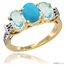10K Yellow Gold Natural Turquoise & Aquamarine Sides Ring 3-Stone Oval 7x5 mm Diamond Accent