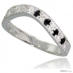Sterling Silver Wavy Ring, High Quality Black & White CZ Stones, 1/8 in (3 mm) wide