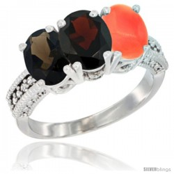14K White Gold Natural Smoky Topaz, Garnet & Coral Ring 3-Stone 7x5 mm Oval Diamond Accent