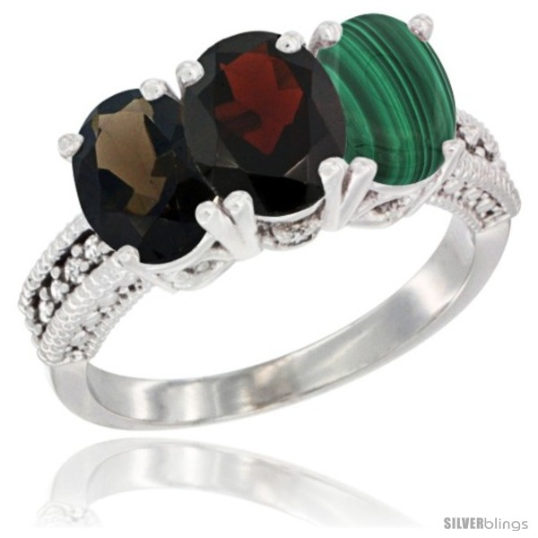 https://www.silverblings.com/59516-thickbox_default/14k-white-gold-natural-smoky-topaz-garnet-malachite-ring-3-stone-7x5-mm-oval-diamond-accent.jpg