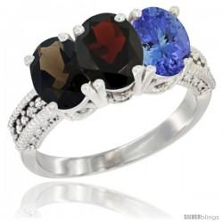 14K White Gold Natural Smoky Topaz, Garnet & Tanzanite Ring 3-Stone 7x5 mm Oval Diamond Accent