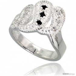 Sterling Silver Freeform Ring, High Quality Black & White CZ Stones, 1/2 in (13 mm) wide