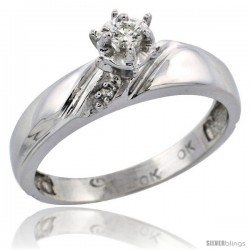 Sterling Silver Diamond Engagement Ring, w/ 0.05 Carat Brilliant Cut Diamonds, 3/16 in. (4.5mm) wide