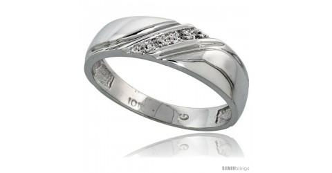 1//4 in. w// 0.03 Carat Brilliant Cut Diamonds Size 8 Sterling Silver Mens Diamond Band 6mm wide