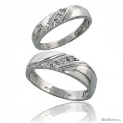 Sterling Silver 2-Piece His (6mm) & Hers (4.5mm) Diamond Wedding Band Set, w/ 0.05 Carat Brilliant Cut Diamonds