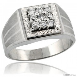 Sterling Silver Men's 9-Stone Frosted Stripe Sides Square Ring Brilliant Cut CZ Stones, 1/2 in (11 mm) wide
