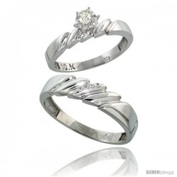 Sterling Silver 2-Piece Diamond Ring Set ( Engagement Ring & Man's Wedding Band ), w/ 0.08 Carat Brilliant Cut Diamonds, ( 4mm