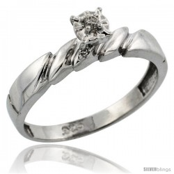Sterling Silver Diamond Engagement Ring, w/ 0.05 Carat Brilliant Cut Diamonds, 5/32 in. (4mm) wide