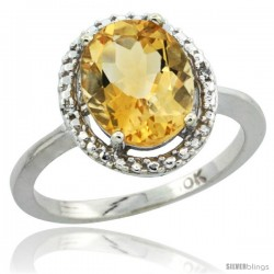 10k White Gold Diamond Halo Citrine Ring 2.4 carat Oval shape 10X8 mm, 1/2 in (12.5mm) wide