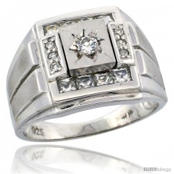 Sterling Silver Men's Frosted Stripe Sides Square Ring Princess & Brilliant Cut CZ Stones, 5/8 in (16 mm) wide