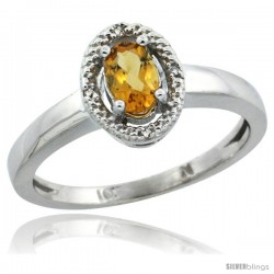 10k White Gold Diamond Halo Citrine Ring 0.75 Carat Oval Shape 6X4 mm, 3/8 in (9mm) wide