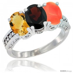 10K White Gold Natural Citrine, Garnet & Coral Ring 3-Stone Oval 7x5 mm Diamond Accent