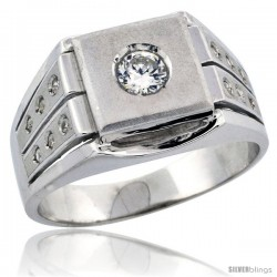 Sterling Silver Men's Frosted Solitaire Square Ring Brilliant Cut CZ Stones, 1/2 in (12 mm) wide