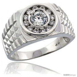 Sterling Silver Men's Rolex Style Cubic Zirconia Ring, 1/2 in (12 mm) wide