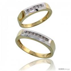 10k Yellow Gold Diamond 2 Piece Wedding Ring Set His 5mm & Hers 4.5mm -Style Ljy109w2