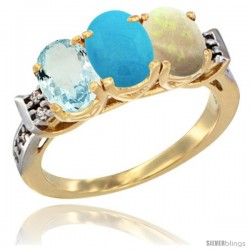 10K Yellow Gold Natural Aquamarine, Turquoise & Opal Ring 3-Stone Oval 7x5 mm Diamond Accent