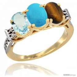 10K Yellow Gold Natural Aquamarine, Turquoise & Tiger Eye Ring 3-Stone Oval 7x5 mm Diamond Accent