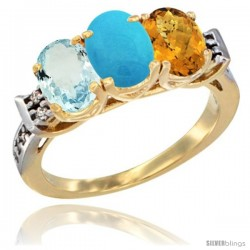 10K Yellow Gold Natural Aquamarine, Turquoise & Whisky Quartz Ring 3-Stone Oval 7x5 mm Diamond Accent