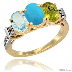 10K Yellow Gold Natural Aquamarine, Turquoise & Lemon Quartz Ring 3-Stone Oval 7x5 mm Diamond Accent