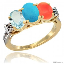 10K Yellow Gold Natural Aquamarine, Turquoise & Coral Ring 3-Stone Oval 7x5 mm Diamond Accent