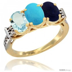10K Yellow Gold Natural Aquamarine, Turquoise & Lapis Ring 3-Stone Oval 7x5 mm Diamond Accent