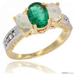 14k Yellow Gold Ladies Oval Natural Emerald 3-Stone Ring with Opal Sides Diamond Accent
