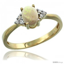 14k Yellow Gold Ladies Natural Opal Ring oval 7x5 Stone Diamond Accent