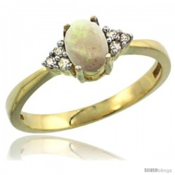 14k Yellow Gold Ladies Natural Opal Ring oval 6x4 Stone Diamond Accent