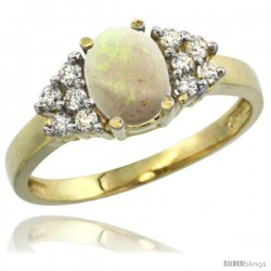 14k Yellow Gold Ladies Natural Opal Ring oval 8x6 Stone Diamond Accent