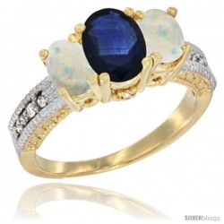 14k Yellow Gold Ladies Oval Natural Blue Sapphire 3-Stone Ring with Opal Sides Diamond Accent