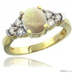 14k Yellow Gold Ladies Natural Opal Ring oval 9x7 Stone Diamond Accent