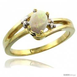 14k Yellow Gold Ladies Natural Opal Ring oval 6x4 Stone Diamond Accent -Style Cy420165