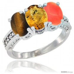 14K White Gold Natural Tiger Eye, Whisky Quartz & Coral Ring 3-Stone 7x5 mm Oval Diamond Accent