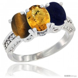 14K White Gold Natural Tiger Eye, Whisky Quartz & Lapis Ring 3-Stone 7x5 mm Oval Diamond Accent
