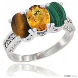 14K White Gold Natural Tiger Eye, Whisky Quartz & Malachite Ring 3-Stone 7x5 mm Oval Diamond Accent