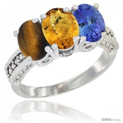 14K White Gold Natural Tiger Eye, Whisky Quartz & Tanzanite Ring 3-Stone 7x5 mm Oval Diamond Accent